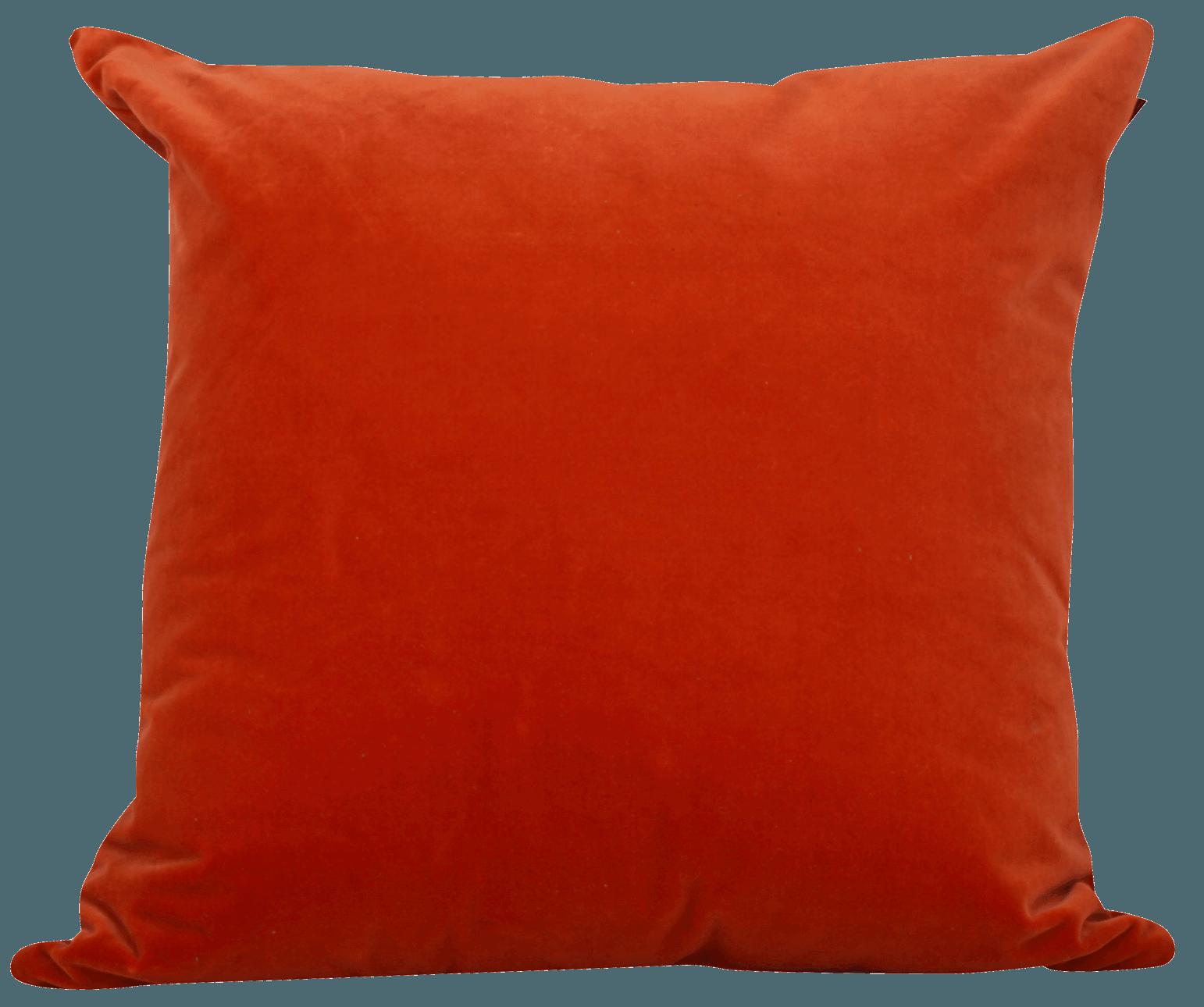 Burnt Orange Velvet Handmade Cushion Large Bradwell Art